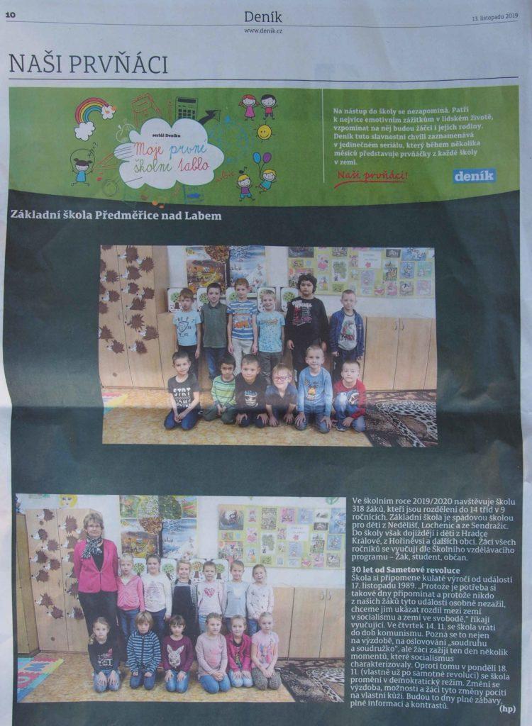 Novinový článek a fotogragie žáků první třídy